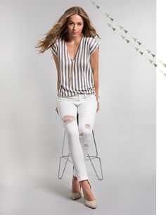 SELENA Mid-Rise Ankle Skinny in White Destructed | #Spring2016 #LookBook