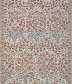 Sameera - Red/Blue fabric, from the Oscar De La Renta III collection by Lee Jofa Blue Pillow Covers, Blue Pillows, Decorative Pillow Covers, White Wallpaper, Fabric Wallpaper, Tree Wallpaper, Wallpaper Ideas, Lee Jofa, Ferrat
