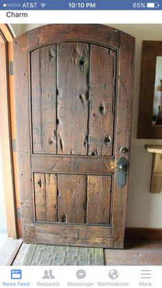 Front Door - made from salvaged vintage timber - via European Farmhouse Charm: Our Garage Door Makeover and a Trip to Vintage Timberworks Cool Doors, The Doors, Entry Doors, Windows And Doors, Garage Doors, Closet Doors, Panel Doors, Sliding Doors, Barn Garage
