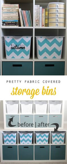 turn cheap plastic storage bins into pretty fabric covered bins with this easy DIY (free cutting template included)