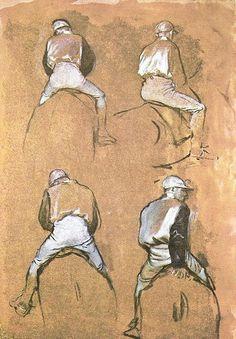 Edgar Degas - Four Studies of a Jockey, 1866