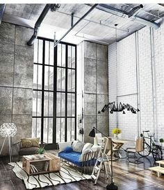 23 Creatively Industrial Interior Design Ideas for House or Office ⋆ aviatech. Industrial Interior Design, Vintage Industrial Decor, Industrial Interiors, Industrial House, Decor Interior Design, Industrial Chic, Industrial Stairs, Contemporary Interior, Industrial Bedroom
