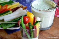 Veggie Dip Cups --- Everybody gets their own when you serve portable veggies and dip ready to go in individual cups.
