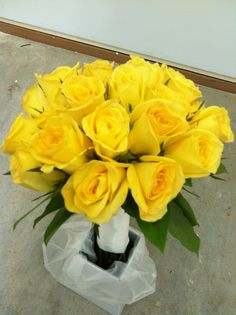 Bride's bouquet - all yellow roses by Weddings by Jennifer, via Flickr