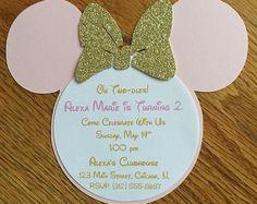 Oh Twodles rosa oro Minnie Mouse brillo invitaciones Minnie invitaciones 2 ° 2 años de edad cumpleaños bebé ducha invitaciones Minnie Inspired
