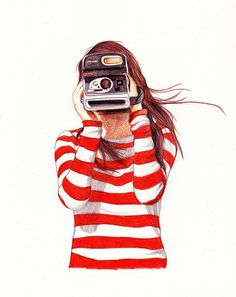 Girl with Red and White Striped Shirt Taking a Polaroid Picture; Illustration by Lucía Franco. #Photographer #Photography #Art