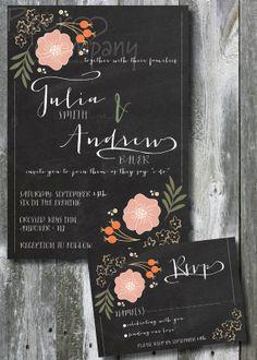 GARDEN I DO Blackboard Chalkboard Wedding by PaperHeartCompany, $35.00