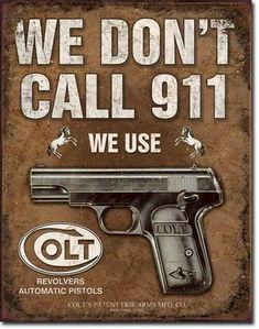 Metal Sign Advertising Colt Revolver Pistols Safety Bar Man Cave Garage Replica