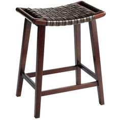 An Asian-informed stool with a modern aesthetic, Keating's simple A-frame is crafted of smooth birch wood and braced by a sturdy box stretcher. The comfortably curved seat is wrapped in black woven synthetic leather and features handles on either side. So you can grab one fast.