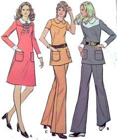 McCalls 3364 Dress tunic pants pattern 1970s. by retroactivefuture