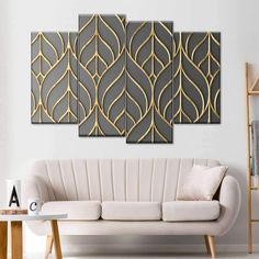 Metal Leaf Pattern Multi Panel Canvas Wall Art will spruce up the walls of any room you choose to place it in. Reflect your love for plants that give you fresh air to breathe with this beautiful art print. Grey Bedroom Design, Bedroom Designs, Fabric Wall Decor, Modern Metal Wall Art, Create Canvas, Fence Art, Panel Wall Art, Mosaic Wall, Wall Art Designs