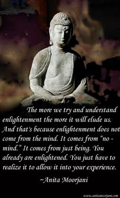 """spiritual quote - The more we try and understand enlightenment the more it will elude us. And that's because enlightenment does not come from the mind. It comes from """"no-mind"""". It comes from just being. You already are enlightened. You just have to realize it to allow it into your experience. ~Anita Moorjani"""