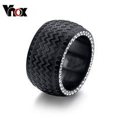 Vnox Black Men's Ring Tyre Design Punk Biker Wedding Rings Birthday Gifts