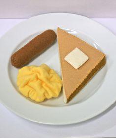 Wool Felt Play Food - Scrambled Eggs Sausage and Toast. $31.00, via Etsy.