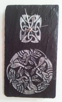 Natural Slate Clock featuring Celtic Design http://www.dazzlemarket.com/ads/natural-slate-clock-featuring-celtic-design/