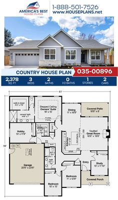 A charming Country home design, Plan 035-00896 details 2,378 sq. ft., 3 bedrooms, 2 bathrooms, a kitchen island, an open floor plan, and a study. #countryhome #architecture #houseplans #housedesign #homedesign #homedesigns #architecturalplans #newconstruction #floorplans #dreamhome #dreamhouseplans #abhouseplans #besthouseplans #newhome #newhouse #homesweethome #buildingahome #buildahome #residentialplans #residentialhome