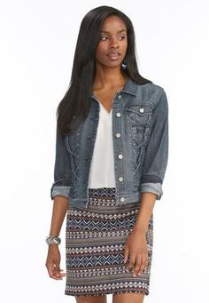 5a51e54b09767 Cato Fashions Lace Up Denim Jacket-Plus  CatoFashions Travel Style