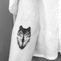 Small black and grey style wolf on the forearm.