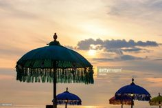 The atmosphere of sunset and sunrise by the beach of Seminyak, Bali Indonesia