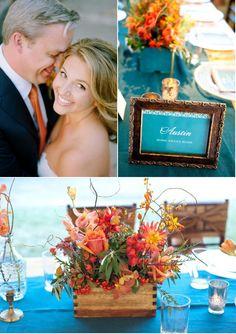 Austin Wedding by Jennifer Lindberg Weddings + BZ events + Last Petal | Style Me Pretty-fall colors with a pop of blue