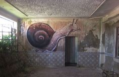 This piece is called 'caracol' (snail) by PH1 in Portugal. Abandoned, Forgotten, Rust, Street Art