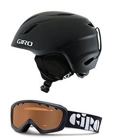 Giro Launch/REV Childrens Snowboard Ski Helmet Goggle Combo Matte Black w/ Black - Ar 40 Small