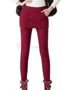 Popular Pure Color Thick Slim Legging Women' Winter Warm Culotte