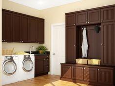 Luandry room with dark chocolate cabinets