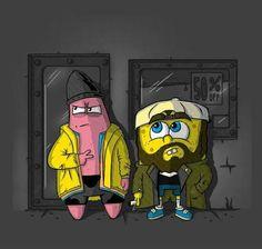 Just think silent sponge bob and patrick gangster