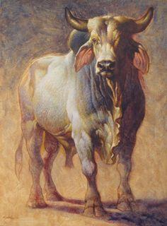 """Brahma Bull"" - x />Acrylic on Canvas<br />Artist: Ezra Tucker Animal Paintings, Animal Drawings, Art Drawings, Bull Painting, Bucking Bulls, Cow Pictures, Bull Cow, Cow Art, Hindu Art"