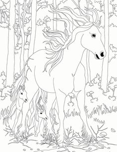 Wild Horses Stained Glass Coloring Book