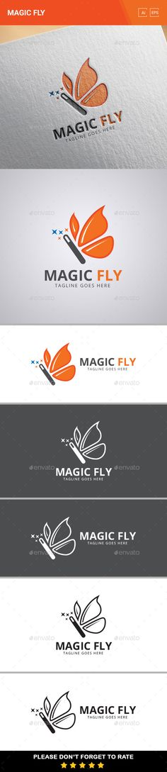 "This is another logo that I really enjoy. It could work in black and white as well. I like the use of the magic wand as the body of the butterfly and the use of the wings to create the 'Magic Fly"" effect. Really nice touch."