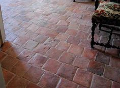 Antique Reclaimed Square Terracotta, typical shape and size of the Loire Valley in France. Hand-Made, not mechanical. Dominant of Red and Peach colors with some possible Pink tones. 150 to 200 years old.