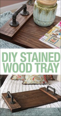 DIY stained wood tray. Would be great to play with different wood & handles!