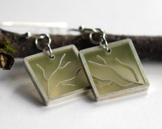Branching Earrings in moss green