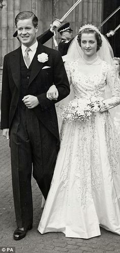 Princess Diana's parents, Earl Spencer with Frances Shand Kydd at their wedding in 1954.    AmosEvents.com