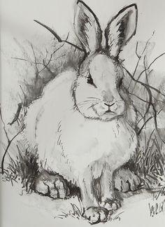 Snow Hare Charcoal by Sarafina Fiber Art