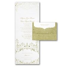 Finery and romance, all over this seal 'n send invitation. Gold filigree accents it inside and out. Budget Wedding Invitations, Wedding Invitation Suite, Invitation Ideas, Invites, Gold Wedding, Dream Wedding, Gold Filigree, Wedding Cards, Seal