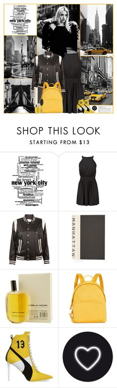 """""""New York"""" by kittyfantastica ❤ liked on Polyvore featuring Boohoo, IRO, E. Lawrence, Ltd., Comme des Garçons, Tommy Hilfiger, Puma, Seletti and Drybar"""
