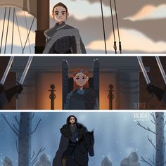 """The Last of the Starks by ° """"When the snows fall and the white winds blow, the lone wolf dies, but the pack survives. Dessin Game Of Thrones, Got Game Of Thrones, Game Of Thrones Funny, Arya Stark, Jon Snow, Game Of Trones, Iron Throne, Valar Morghulis, Sansa"""