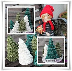 Pelles heklede juletrær Christmas Ornaments, Christmas Ideas, Crochet Hats, Holiday Decor, Design, Home Decor, Knitting Hats, Decoration Home, Room Decor