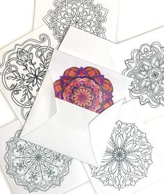 Any occasion greeting card coloring pages geometric design with envelope template Coloring Book Art, Mandala Coloring Pages, Free Coloring, Old Book Crafts, Unique Night Lights, Greeting Card Size, Watercolor Cards, Mandala Design, Hand Lettering