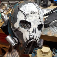 Just a few final touch ups left! #wastelandweekend #helmet #armor #fiberglass #fabrication #mask #sculpture #rust #art #costume #cosplay #skull #leatherwork #sewing #gasmask #postapocalyptic