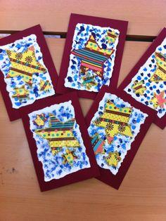 Felicitacions Nadal. Estrelles amb restes de paper regal. Base rasgada a mà i pinzellades blaves.