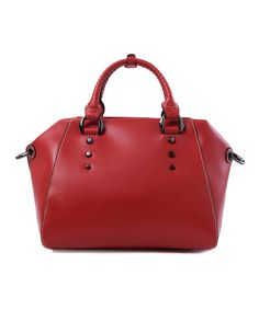 Look at this Wine Diamond-Cut Leather Satchel on #zulily today!