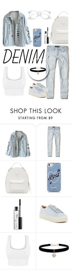 """""""Denimm"""" by naomy-nona ❤ liked on Polyvore featuring Hollister Co., Versace, Skinnydip, MAC Cosmetics, Marc Fisher LTD and Betsey Johnson"""