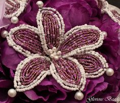 Amazon.com: Purple and White Beaded Lily Bridal Wedding Flower 17 piece set with Peony and Rose~ Unique French beaded flowers. Peonies and Roses in Purple and Lavender: Handmade
