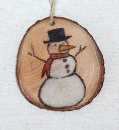Snowman Christmas tree ornament original sand painting on wood slice gift tags packaged in a colorful gift bag