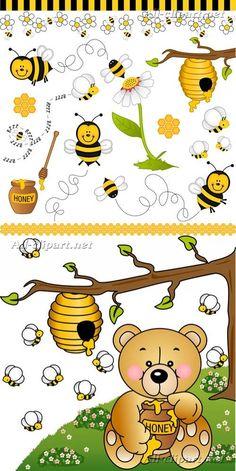 Пчелы, медведь и мед - векторный клипарт   Bees, bear and honey