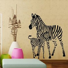 ColorfulHall Removeable Vinyl Wall Decals Wild Animal Zebra Wall Mural Stickers for Child Kids Room Decor